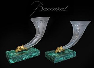 A Pair of Baccarat Crystal, Malachite Gilt Bronze Vases