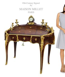 MAISON MILLET ORMOLU-MOUNTED KINGWOOD DESK, 19TH C.