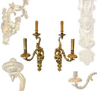 A PAIR OF LOUIS XV STYLE BRONZE TWO-BRANCH WALL-LIGHTS