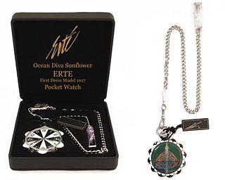 Ocean Diva Sunflower, Authentic ERTE Pocket Watch