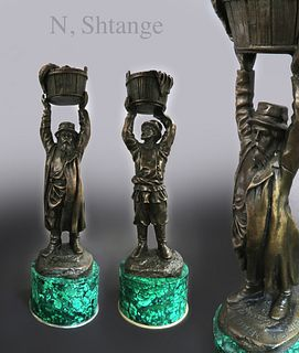 A Pair of Russian Bronze & Malachite Candle-holders
