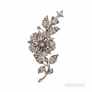 Antique Diamond Flower Brooch