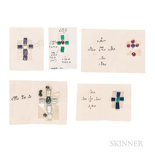 Collection of Unmounted Gemstone Designs for Crosses
