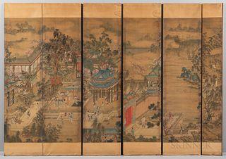 Six Hanging Scroll Panels Depicting a Banquet Scene