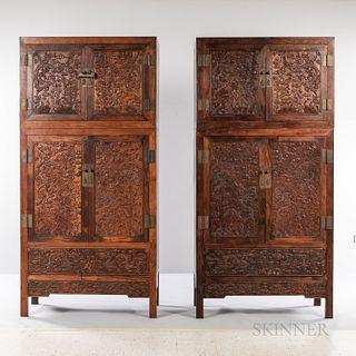 Pair of Hardwood Compound Cabinets, Sijiangui