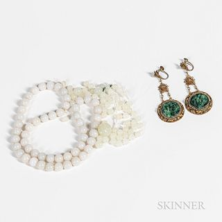 Group of Jadeite Beads and Earrings