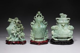 Group of Three Chinese Carved Hardstone Covered Vases