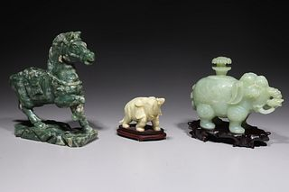Group of Three Chinese Hardstone Animal Carvings