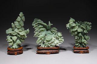 Three Chinese Carved Hardstone Bird Groupings