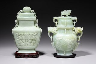 Two Chinese Carved Hardstone Covered Vases