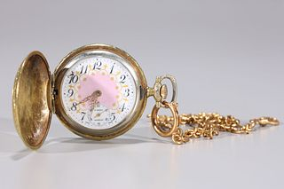Gold Plated Pocket Watch with Fob