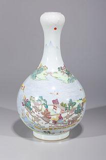 Chinese Enameled Porcelain Garlic Mouth Vase