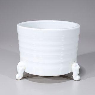 Chinese White Glazed Tripod Porcelain Censer
