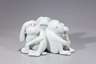 Chinese White Glazed Porcelain Monkey Grouping