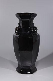 Chinese Black Glazed Porcelain Vase