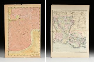 A GROUP OF TWO MAPS, LOUISIANA AND NEW ORLEANS, EARLY 20TH CENTURY,