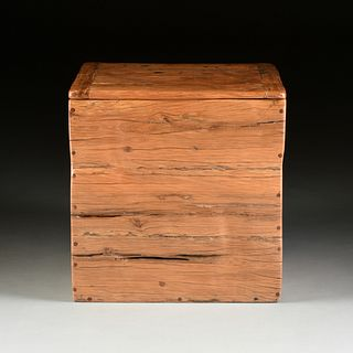 A SOUTH AFRICAN RECLAIMED BUBINGA/TEAK WOOD STORAGE CHEST, LATE 20TH CENTURY,