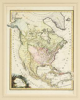 """AN ANTIQUE MAP OF NORTH AMERICA, """"Amérique Septentrionale,"""" PARIS, CIRCA 1809,"""