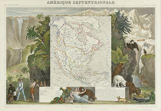"""AN ANTIQUE MAP OF NORTH AMERICA, """"Amérique Septentrionale,"""" PARIS, 1840-1849,"""