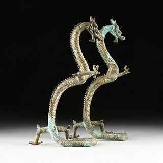 A PAIR OF SINO/JAPANESE BRONZE DRAGON MOUNTS, EARLY 20TH CENTURY,