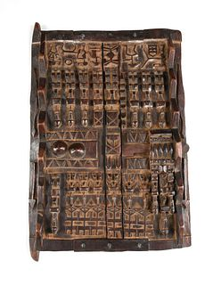 A GROUP OF FOUR AFRICAN DOGON PEOPLE CARVED WOOD GRAINERY DOORS, MALI, 20TH CENTURY,