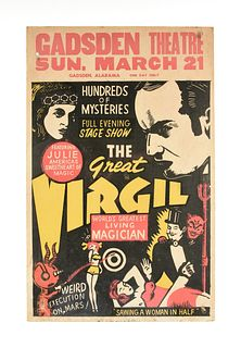 A GROUP OF SIX AMERICAN MAGIC, ILLUSION AND CIRCUS ADVERTISEMENT POSTERS, THE GREAT VIRGIL, LE GRAND DAVID, BENTLEY BROS AND KEN GRIFFIN, 20TH CENTURY