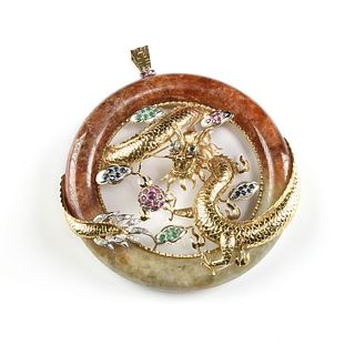 A VINTAGE CHINESE 14K GOLD, PRECIOUS GEMSTONE SET CIRCLE JADE PENDANT, DRAGON IN CLOUDS, 1950's,