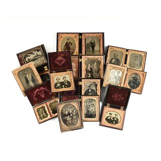 A GROUP OF SEVENTEEN DAGUERREOTYPE, AMBROTYPE, AND TINTYPE PHOTOGRAPHS, AMERICAN, 1860-1900,