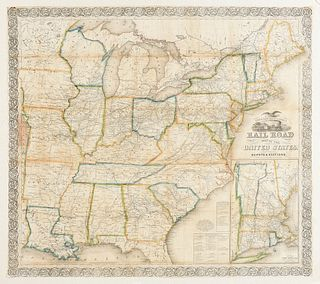 """""""Ensign, Bridgman & Fanning's Railroad Map of the United States, Showing the Depots and Stations,"""" AN ANTIQUE MAP, NEW YORK, 1856,"""