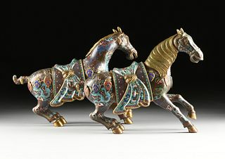 A PAIR OF CHINESE RED CLOISONNÉ WAR HORSES ON STANDS, 20TH CENTURY,