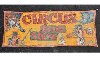 """A VINTAGE CIRCUS """"SIDE SHOW"""" PAINTED BANNER, SECOND HALF 20TH CENTURY,"""