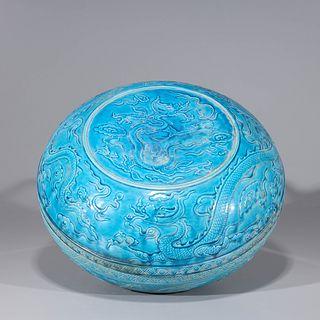 Chinese Ming Style Blue Glazed Ceramic Box