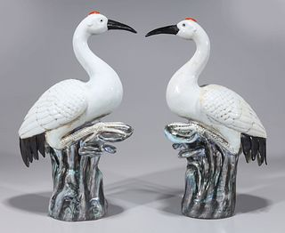 Pair Chinese Enameled Porcelain Birds
