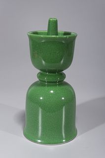 Chinese Crackle Glazed Porcelain Candlestick