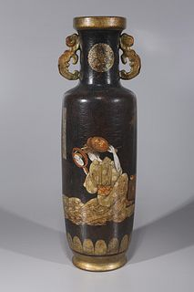 Tall Chinese Porcelain Imitating Lacquer Vase