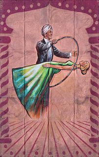 """A LARGE CIRCUS SIDESHOW BANNER """"MAGICIAN WITH LEVITATING LADY,"""" SECOND HALF 20TH CENTURY,"""