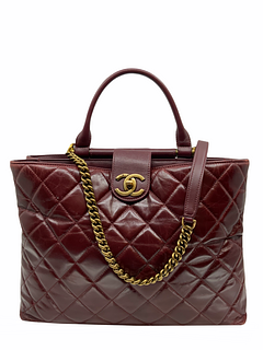 Chanel Quilted Large Gold Bar Top Handle Tote
