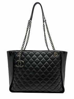 Chanel CC Charm Quilted Lambskin Patent Leather Tote