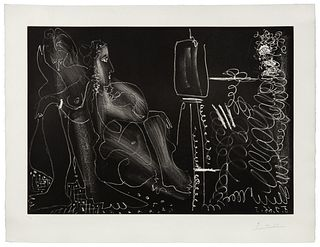 Pablo Picasso - Peintre a son chevalet avec deux femmes