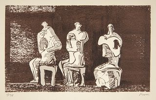 """HENRY MOORE (United Kingdom, 1898 - 1986). """"Three sealed figures in setting"""". 1979. Lithograph, copy 17/75. Signed and justified by him."""
