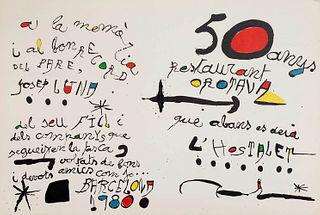"""JOAN MIRÓ I FERRÀ (Barcelona, 1893 - Palma de Mallorca, 1983). """"50 anys del restaurant Orotava"""", Barcelona, 1980. Lithograph on Guarro paper. Dated an"""
