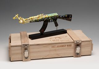"DIEDERIK VAN APPLE (Leiden, Holland, 1985). ""Flowers Amex Ak-47"" from the series Art Against War. Marble resin. Hand painted. Copy 80/125. Signed, tit"