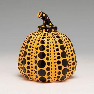 "YAYOI KUSAMA (Matsumoto, Japan, 1929). ""Pumpkin orange, 2015. Lacquered resin. With stamp on the base."