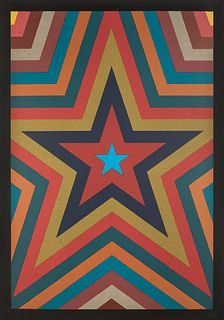 """SOL LEWITT (United States, 1928 - 2007). """"Five pointed star with colorbands"""", from the Suite Olympic Centennial, 1992. Silkscreen on 270 g Velin d'Arc"""