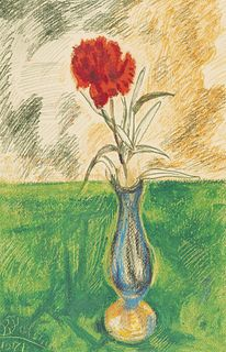 """BENJAMÍN PALENCIA (Barrax, Albacete, 1894 - Madrid, 1980). """"Vase with Carnation, 1971. Wax on paper. Signed and dated in the lower left corner."""