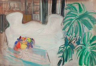 """XAVIER SOLER LLORCA (Alicante, 1923-1995) """"The dining room"""". Gouache on paper. Signed on the back."""