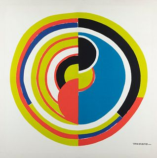 """SONIA DELAUNAY (Ukraine, 1885 - France, 1979). """"Signal"""", 1970s. Colour silkscreen on canvas, copy 11/900. Signed in plate. Justified by him."""