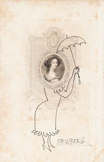 """SAÜL STEINBERG (Romania, 1913 - USA, 1999). """"Woman with an Umbrella"""". Ink on paper. Signed in the lower right corner."""