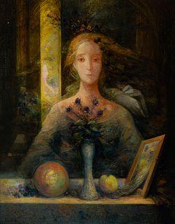 "JUAN MIGUEL ROCA FUSTER (Palma de Mallorca, 1942 - 2006). ""Still life with female figure"". 1987 / 1988 Oil on canvas."