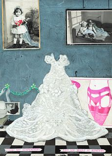 """GINO RUBERT (Mexico City, 1969). """"Undo my suspenders - And see what it renders"""", 1995. Mixed media and collage on canvas. Signed and dated on the back"""